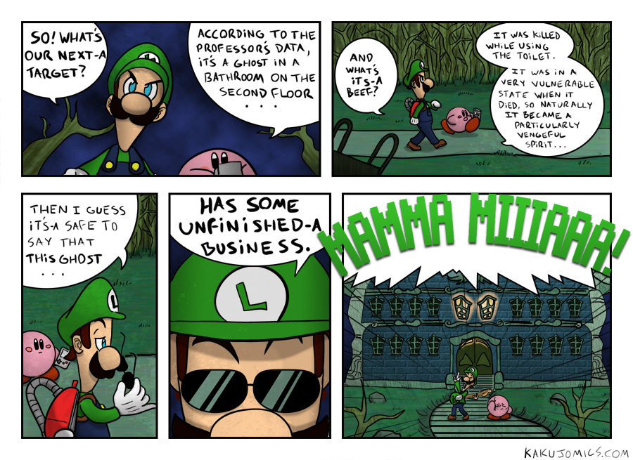 I don't wanna know how Luigi got the Poltergust 3000 back from Kirby...